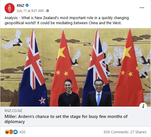 Radio New Zealand Facebook post, 11 July 2021
